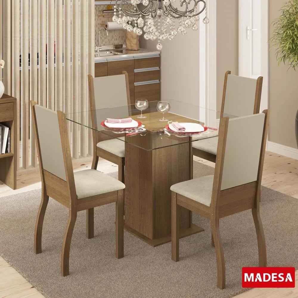 Mesa de Jantar 4 Lugares Soraya Rustic/Pérola - Madesa Móveis