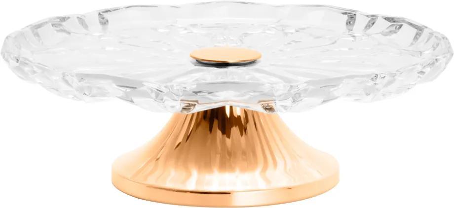 Prato de Vidro para Bolo com Pé de Aço Louise Rose Incolor/Dourado