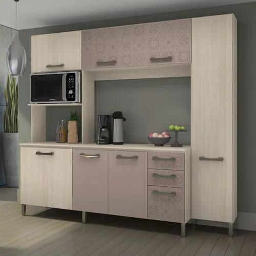 Kit Cozinha Compacta 7 Portas 3 Gavetas E780 Kappesberg - Amêndoa/Moka/Azulejo