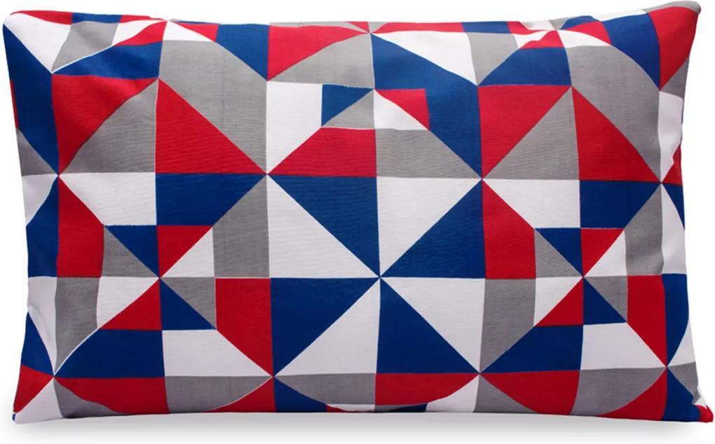 Fronha Estampada Linha Classic 160 Fios 01 Peça - Geométrico Azul/Vermelho