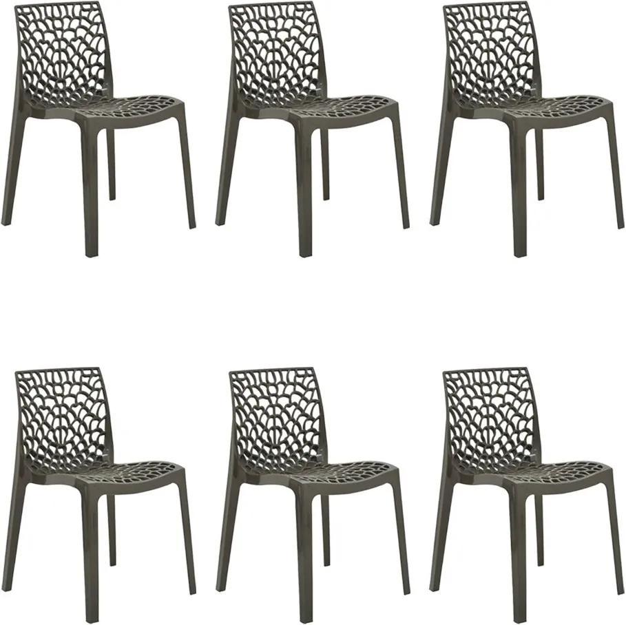 kit 6 Cadeiras Decorativas Sala e Cozinha Cruzzer (PP) Marrom - Gran Belo