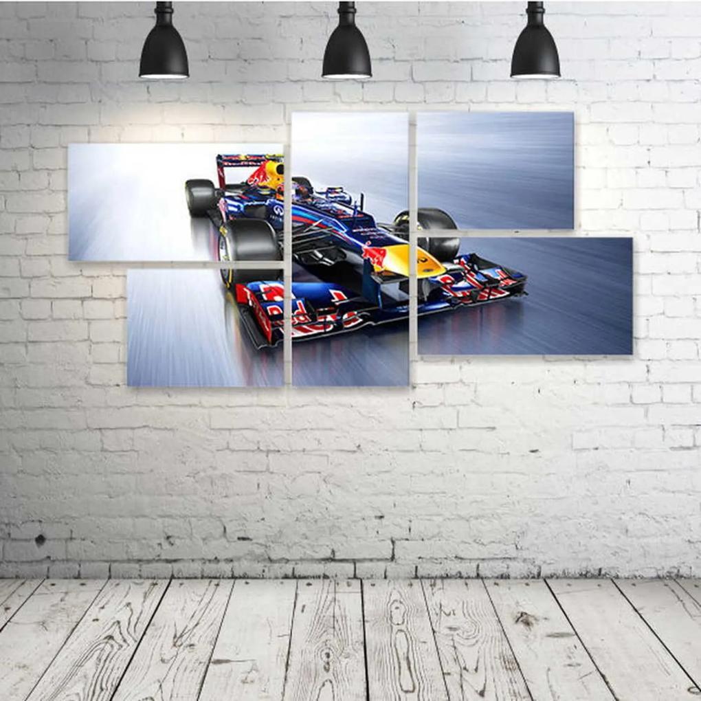 Quadro Decorativo - Formula-1-Red-Bull-Rb8-Race-Car - Composto de 5 Quadros