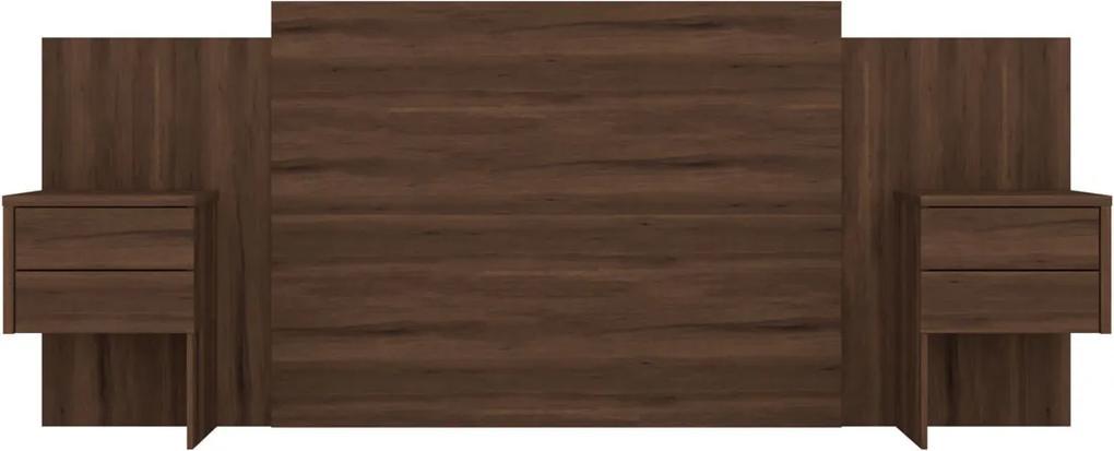 Cabeceira Recife Para Colchão Box C/ Mesa de Apoio Extensível Cedro Albatroz Marrom