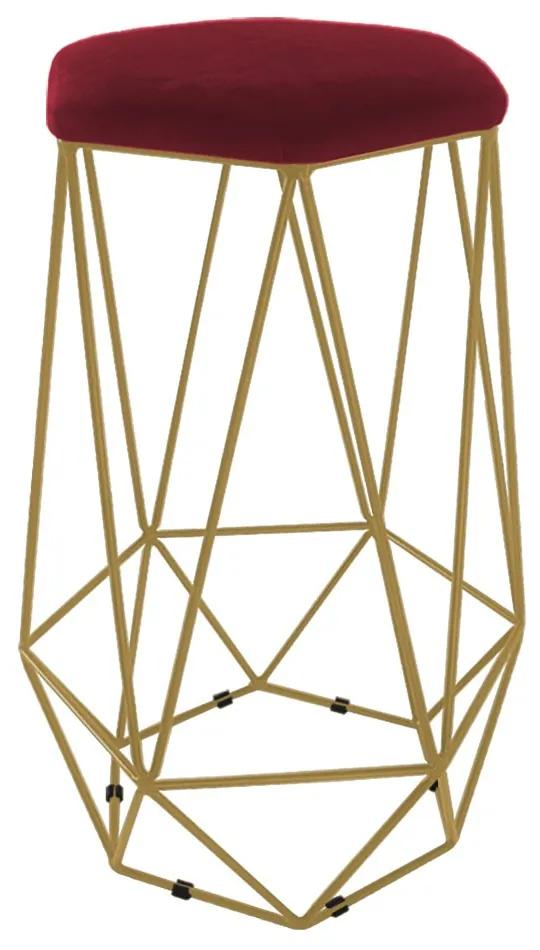 Puff Banqueta Aramado Eiffel Hexágono Dourado Assento Bordô
