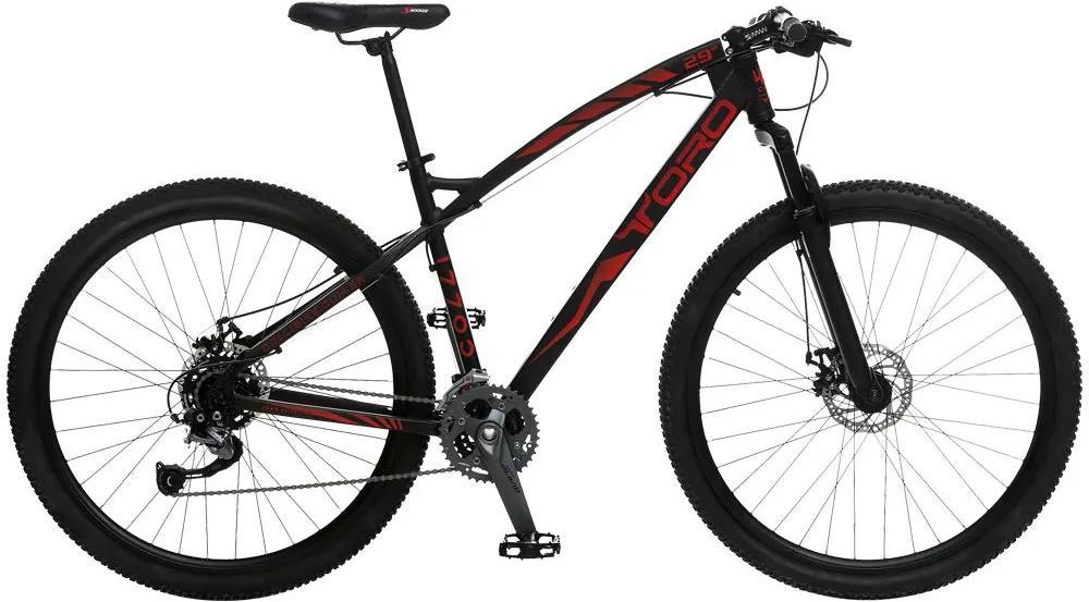 Bicicleta Esportiva Aro 29 Shimano Alívio Suspensão Freio a Disco Toro Quadro 18 Alumínio Preto/Vermelho - Colli Bike