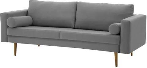 Sofa Rolls Cinza Base Castanho 2 Lugares - 50354 Sun House