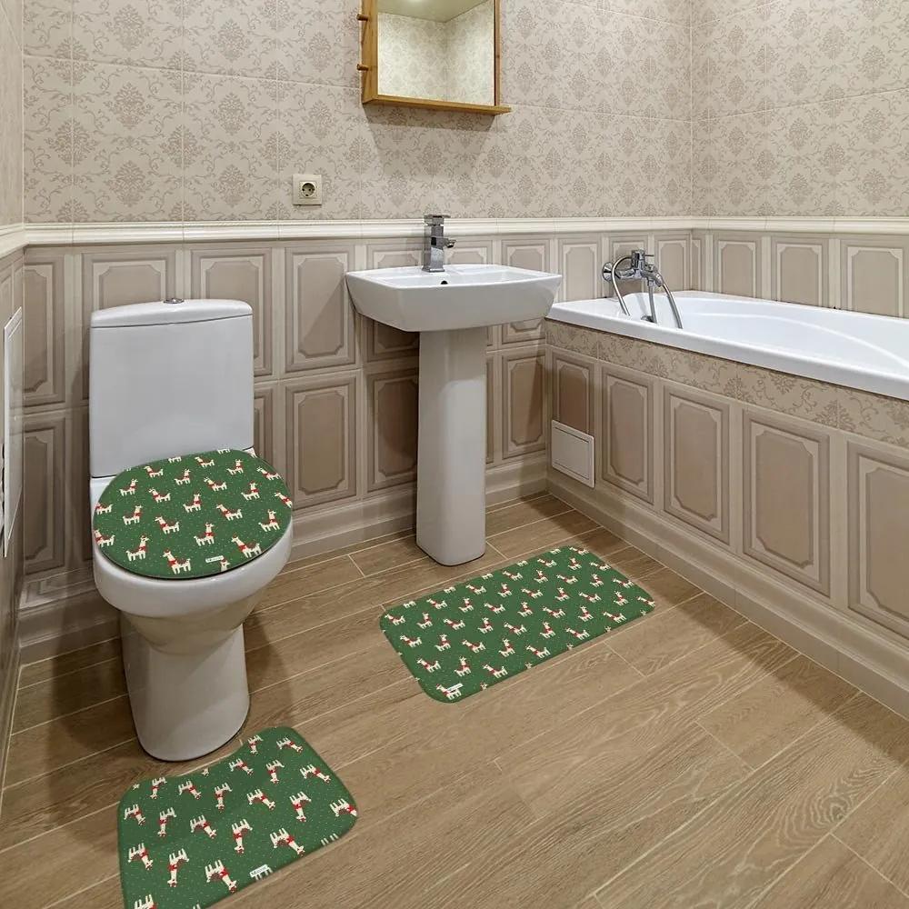 Jogo de Banheiro Natal Lhama VerdeÚnico