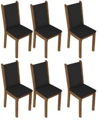 Kit 6 Cadeiras 4291 Madesa Rustic/Preto Cor:Rustic/Preto