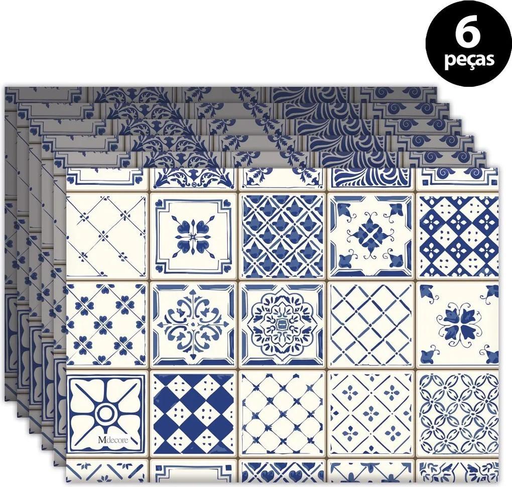 Jogo Americano Mdecore Azulejo Português 40x28cm Azul6pçs