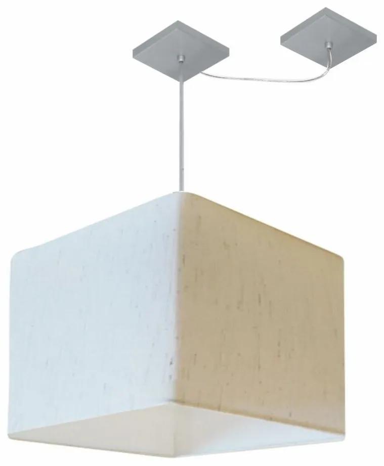Lustre Pendente Quad C/ Desvio Md-4269 Cúpula em Tecido 30/40x40cm Linho Bege - Bivolt