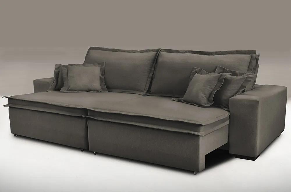 Sofa Retrátil E Reclinável Com Molas Cama Inbox Premium 2,12m Tecido Em Linho Marrom