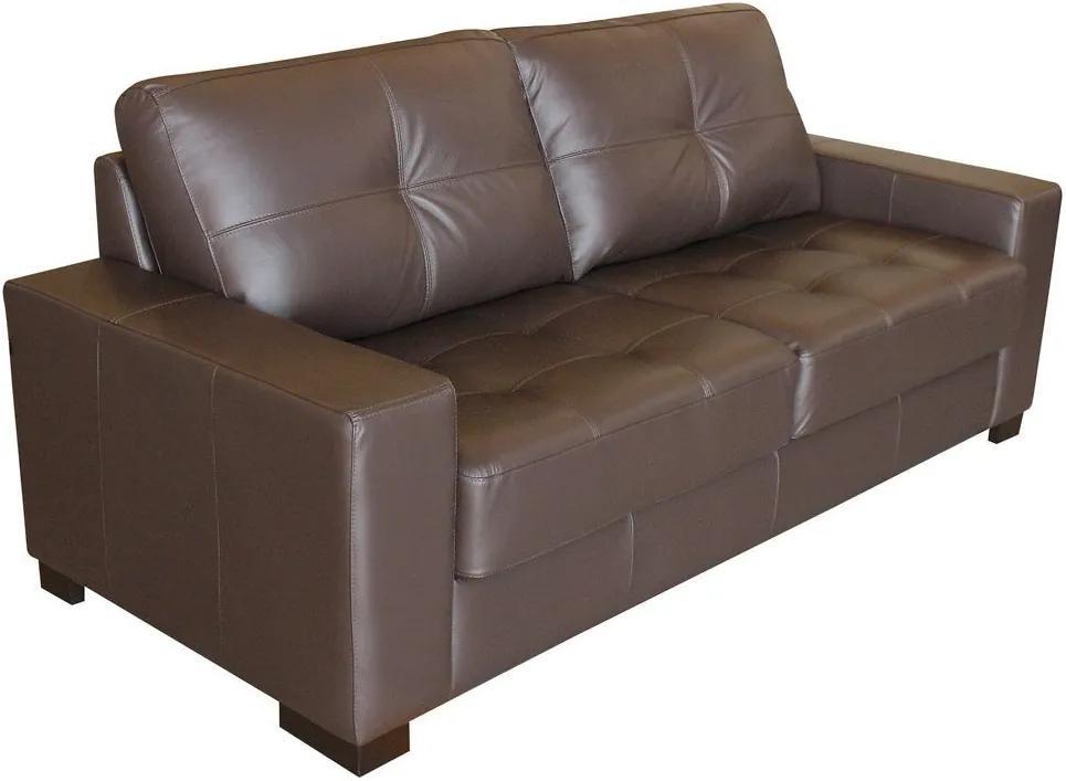Sofá 3 Lugares Sala de Estar 200cm Milão Couro Chocolate - Gran Belo
