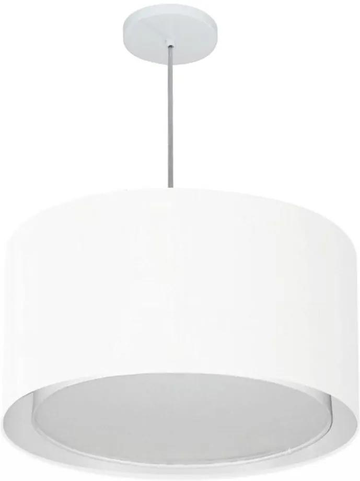 Lustre Pendente Cilíndrico Duplo Vivare Md-4287 Cúpula em Tecido 45x30cm - Bivolt - Branco - 110V/220V (Bivolt)