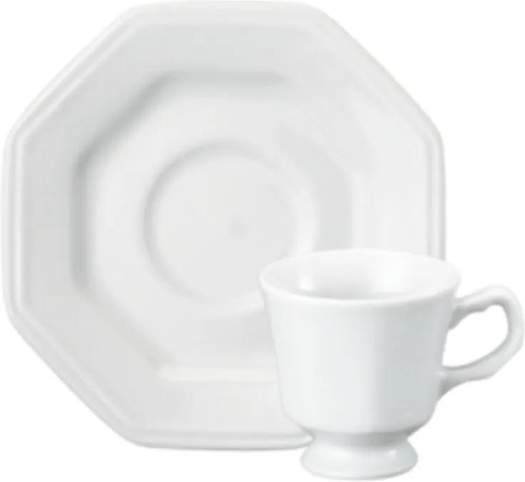 Xicara Café com Pires 80 ml Porcelana Schmidt - Mod. Prisma