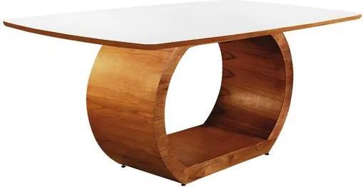 Mesa de Jantar 6 Lugares de Madeira Imbuia com Tampo de Vidro Branco 1,60m Sirkel