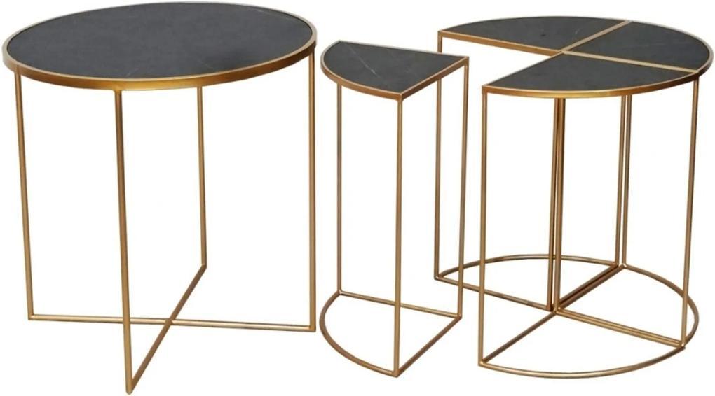 Mesa Lateral de Metal Dourado e Madeira 2 Peças