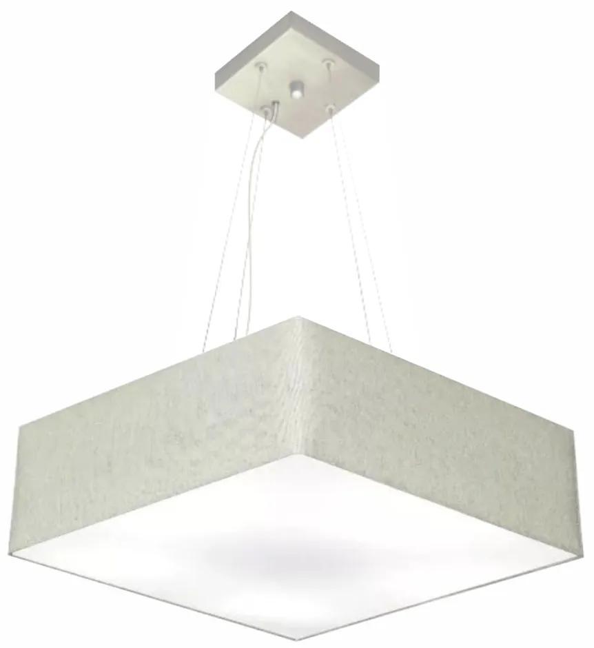 Lustre Pendente Quadrado Md-4198 Cúpula em Tecido 15/60x60cm Rustico Cinza - Bivolt