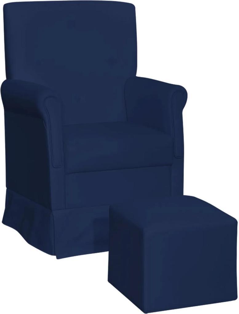 Poltrona de Amamentação com Balanço Suzi Corino Azul Escuro KR-2005 D'Rossi  - Phoenix Baby