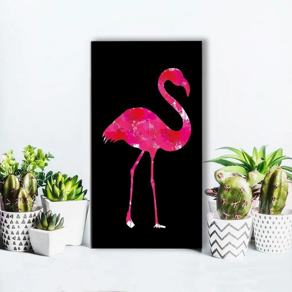 Quadro Alto Relevo Flamingo Rosa40x75cm