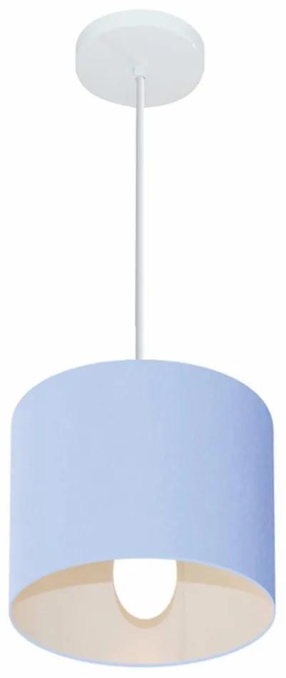 Lustre Pendente Cilíndrico Vivare Md-4046 Cúpula em Tecido 18x18cm - Bivolt - Azul Bebê - 110V/220V (Bivolt)