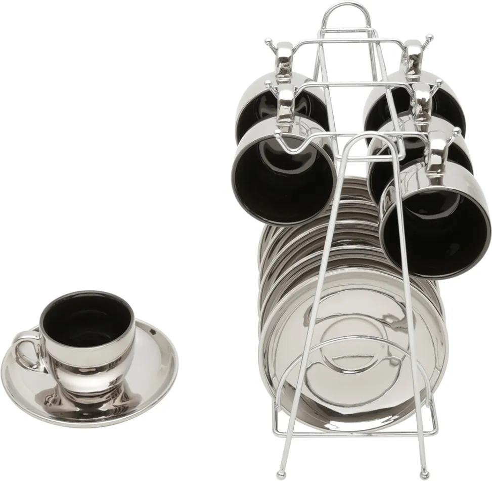 Conjunto de 6 Xícaras de Porcelana Wolff Para Café Com Pires Preto e Prata Versa 90ml