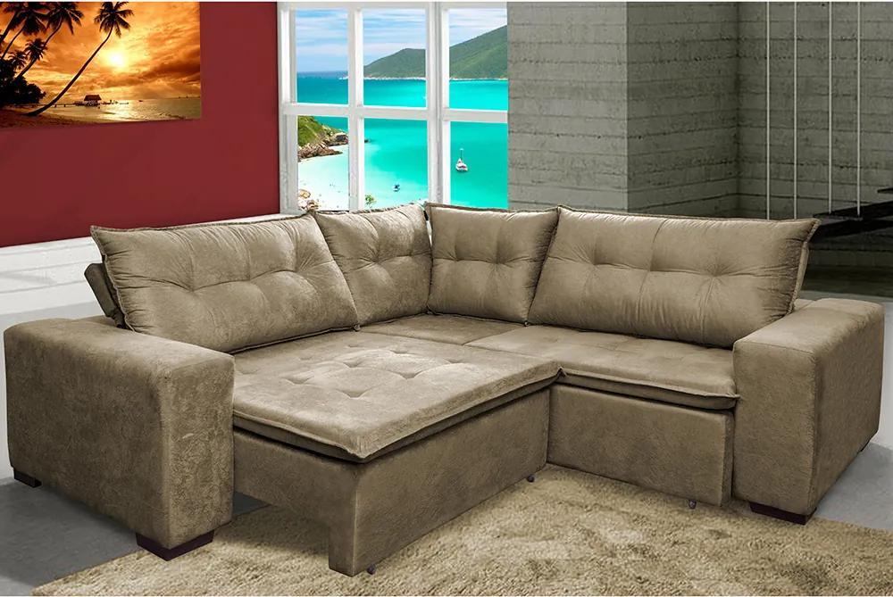 Sofa De Canto Retrátil E Reclinável Com Molas Cama Inbox Oklahoma 2,50m X 2,50m Suede Velusoft Castor