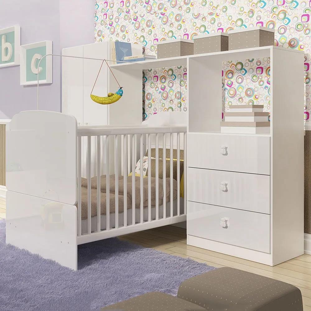 Quarto de Bebê Completo Ninar Cb Nin Branco - Completa Móveis