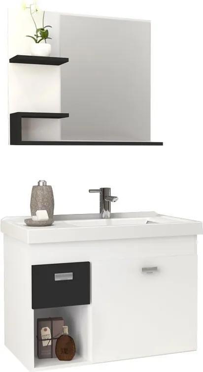 Conjunto Para Banheiro Madeira Camélia 60 Cozimax Branco/preto