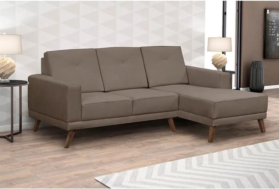 Sofá Xander C/ 3 Lugares (L:200cm) C/ Chaise Suede Liso Castanho DST