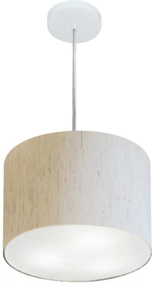 Lustre Pendente Cilíndrico Md-4210 Cúpula em Tecido 30x25cm Linho Bege - Bivolt