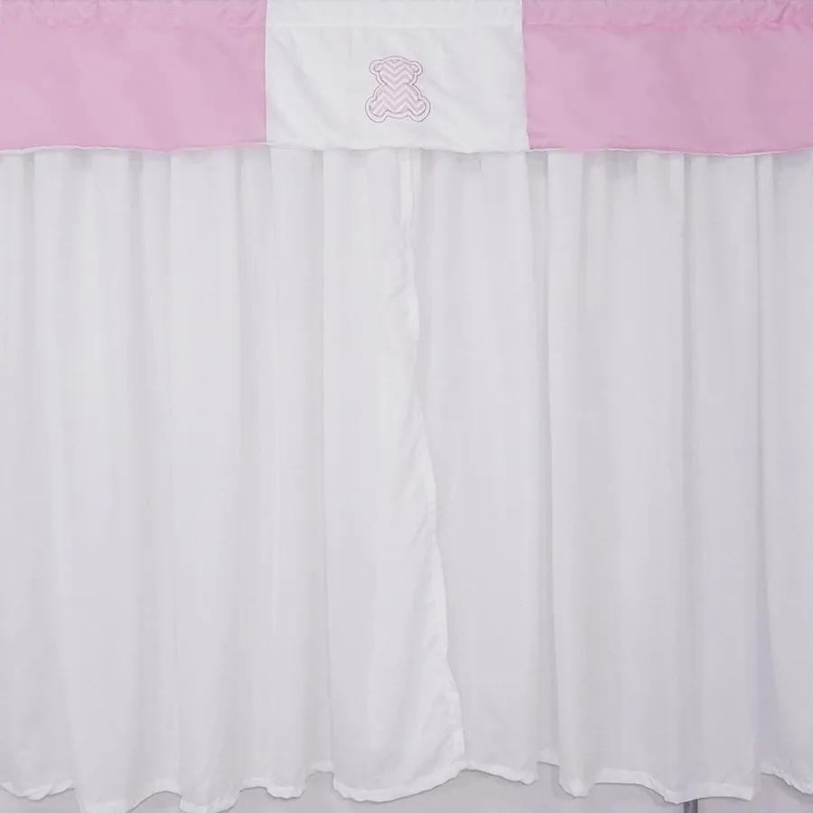 Cortina Quarto de Bebê Ursa Pool Rosa