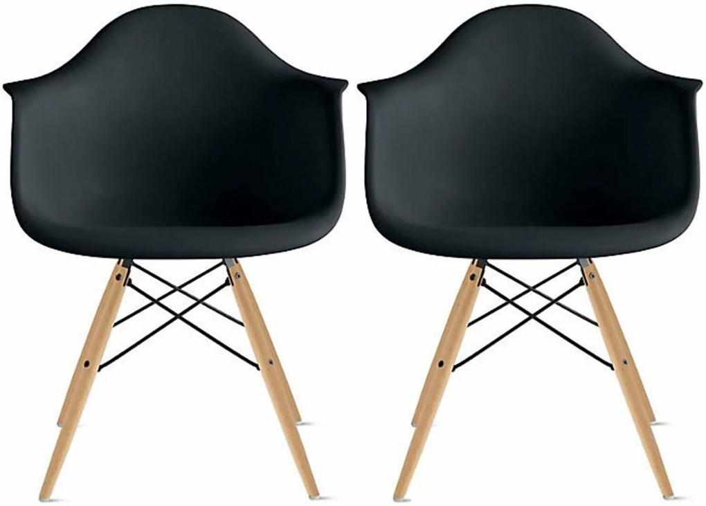 Conjunto 2 Cadeiras Eiffel Eames DAW Preta