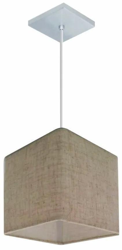 Lustre Pendente Quadrado Md-4223 Cúpula em Tecido 15/13x13cm Rustico Bege - Bivolt