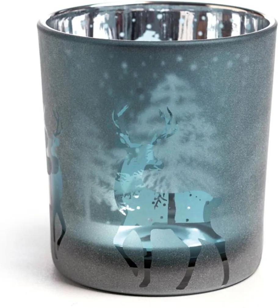 Castiçal Em Vidro DecoraçÁo Natal 8Cm Cor Azul