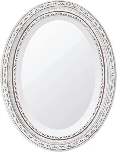 Espelho Oval Bisotê Branco Provençal Pequeno