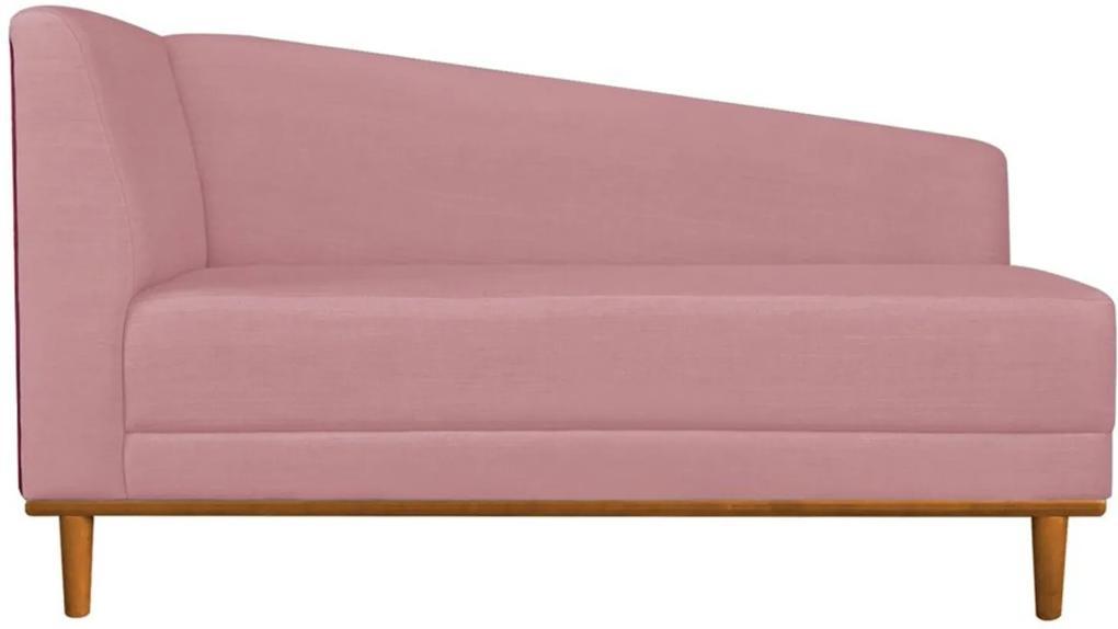 Recamier Monet Composê Sintético Vermelho com Linho A63 Rosa Base de Madeira - D'Rossi