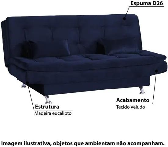 Sofá Cama Salomé 3 Lugares com Encosto Retrátil - Veludo Azul Light