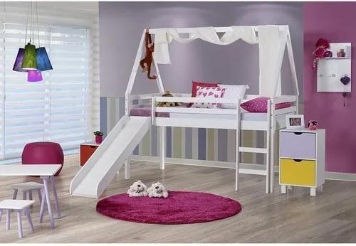 Cama Infantil com Escorregador e Telhado VI com Xale - Madeira Maciça - Laca Branco Casatema