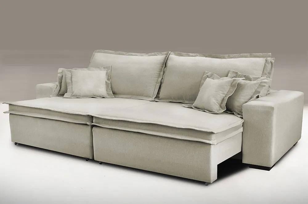Sofa Retrátil E Reclinável Com Molas Cama Inbox Premium 2,32m Tecido Em Linho Bege Escuro