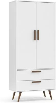 Guarda Roupa Infantil Retrô 2 Portas Branco/Eco Wood - Matic