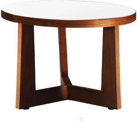 Mesa de Centro de Madeira Imbuia com Tampo de Vidro Branco 53cm Midten