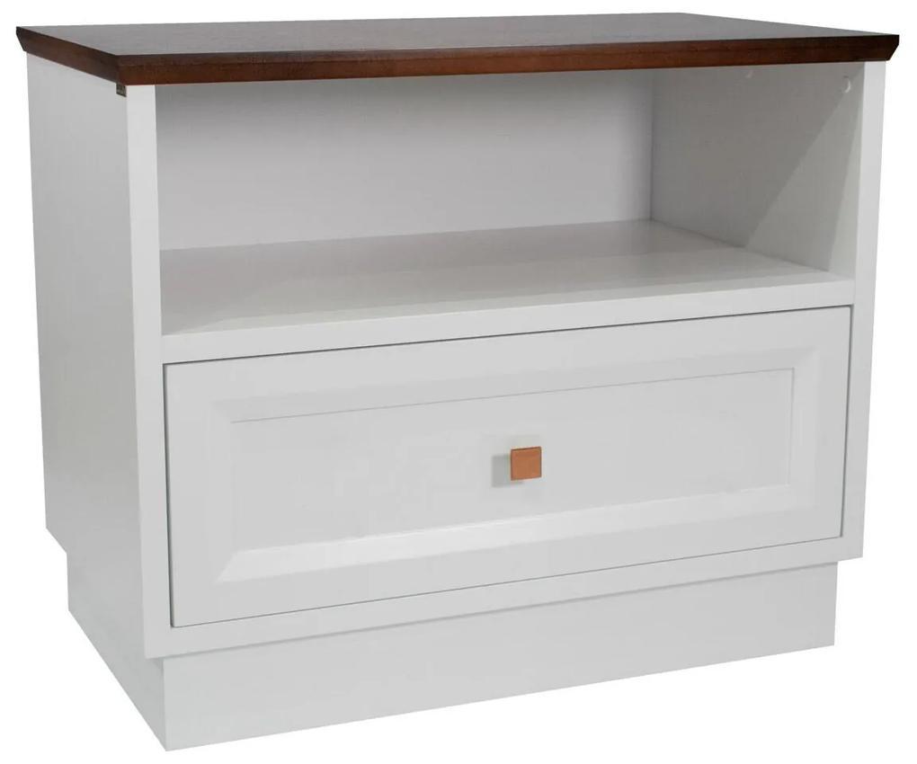 Mesa de Cabeceira com nicho Louvre - Branco com Tampo Vintage  Kleiner Schein