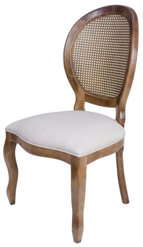 Cadeira de Jantar Medalhão Sem Braço Encosto Palha - Wood Prime 38017