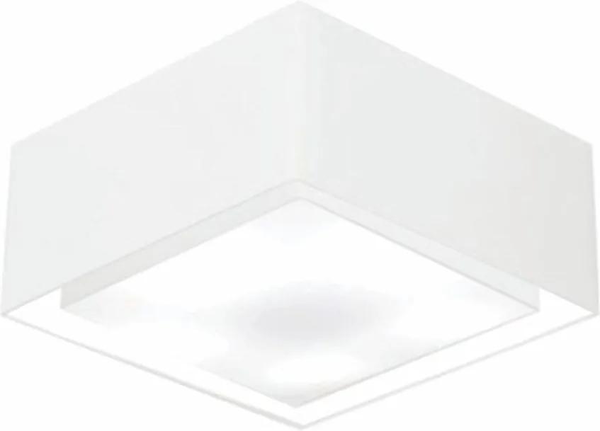 Plafon Quadrado Duplo Vivare Md-3040 Cúpula em Tecido 30x70x70cm - Bivolt - Branco - 110V/220V (Bivolt)