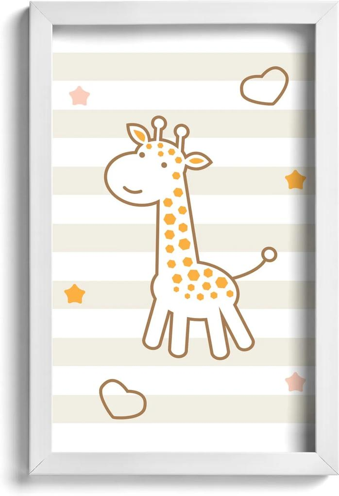 Quadro Infantil Girafa Quartinhos 22x32cm Moldura Branca