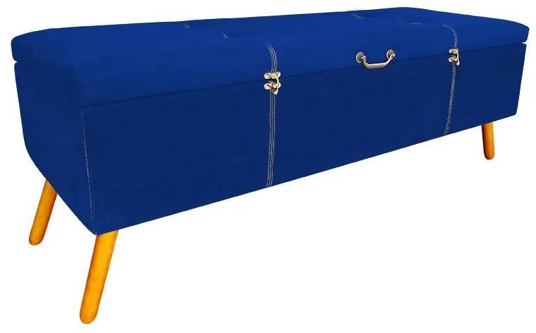 Calçadeira Baú Solteiro 90cm Caribe Pés Palito Suede Azul - Sheep Estofados - Azul