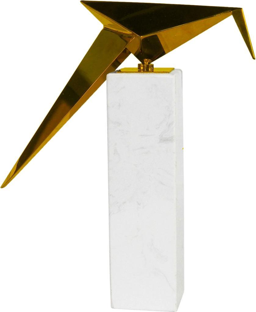 Escultura de Pássaro em Metal com Base de Mármore - 31x20x09cm