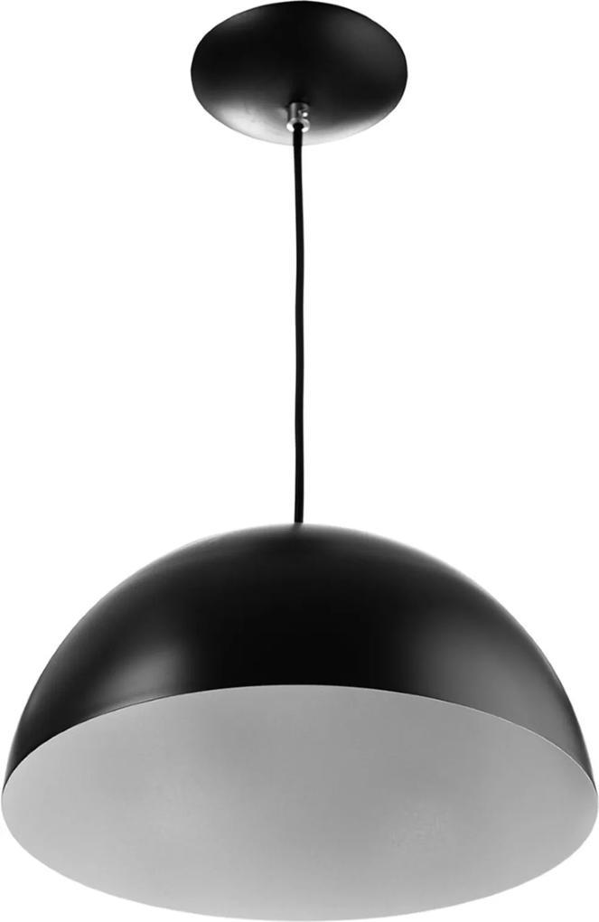 Lustre Pendente Meia Lua 40cm De Alumínio Soquete E-27 Preto