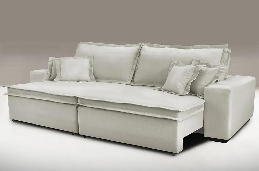 Sofa Retrátil E Reclinável Com Molas Cama Inbox Premium 2,32m Tecido Em Linho Bege Claro