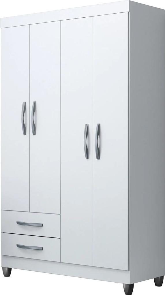 Guarda-Roupa Ambar 4 Portas E 2 Gavetas Externas Quadriflex Móveis Albatroz Branco